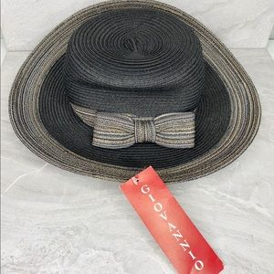 Giovannio Straw Hat Wide Brim Bow Gray Gold Bow